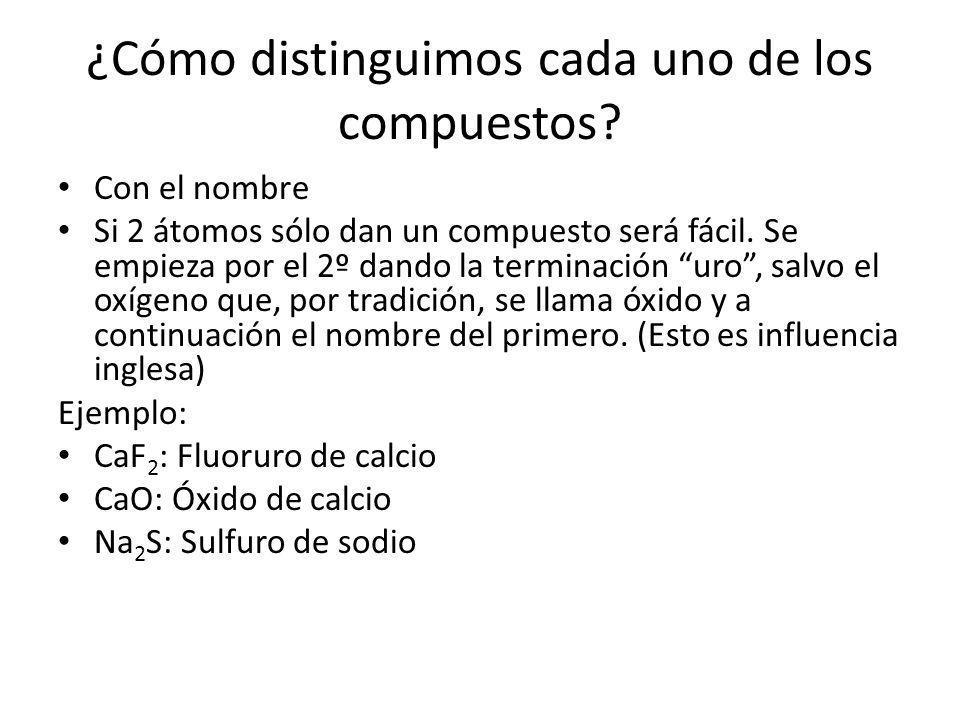 ¿Cómo distinguimos cada uno de los compuestos? Con el nombre Si 2 átomos sólo dan un compuesto será fácil. Se empieza por el 2º dando la terminación u