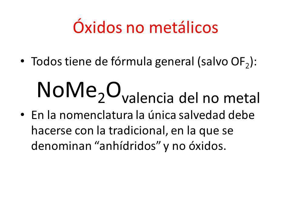 Óxidos no metálicos Todos tiene de fórmula general (salvo OF 2 ): NoMe 2 O valencia del no metal En la nomenclatura la única salvedad debe hacerse con