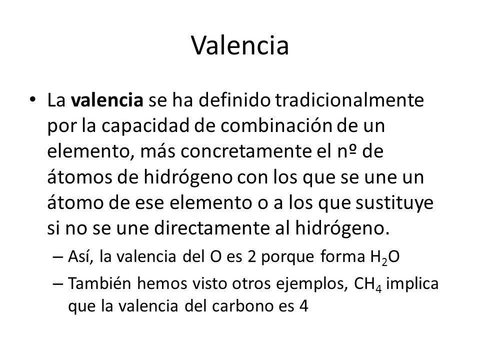 Valencia La valencia se ha definido tradicionalmente por la capacidad de combinación de un elemento, más concretamente el nº de átomos de hidrógeno co