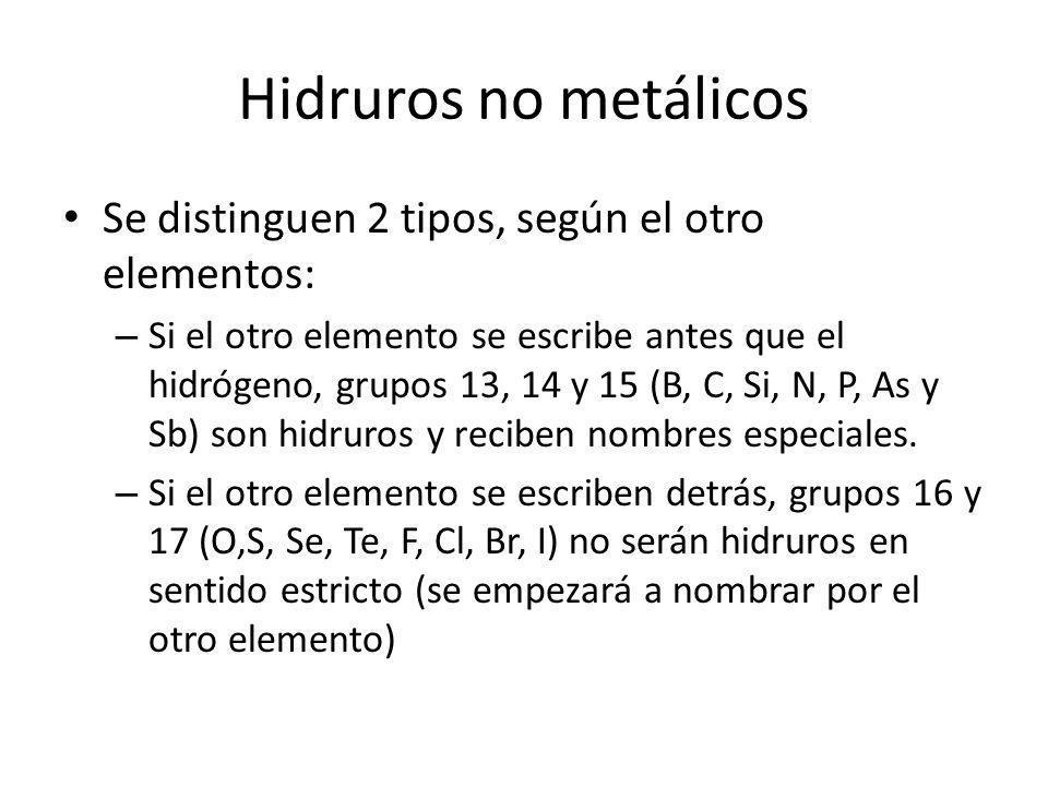 Hidruros no metálicos Se distinguen 2 tipos, según el otro elementos: – Si el otro elemento se escribe antes que el hidrógeno, grupos 13, 14 y 15 (B,