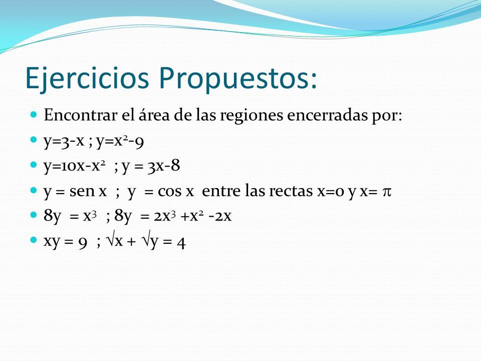Ejercicios Propuestos: Encontrar el área de las regiones encerradas por: y=3-x ; y=x 2 -9 y=10x-x 2 ; y = 3x-8 y = sen x ; y = cos x entre las rectas x=0 y x= 8y = x 3 ; 8y = 2x 3 +x 2 -2x xy = 9 ; x + y = 4