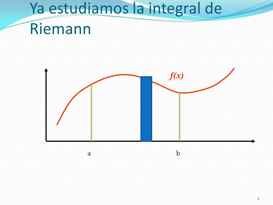2 Ya estudiamos la integral de Riemann f(x) ab