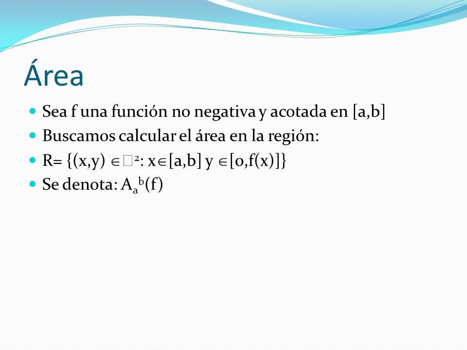 Área Sea f una función no negativa y acotada en [a,b] Buscamos calcular el área en la región: R= {(x,y) 2 : x [a,b] y [0,f(x)]} Se denota: A a b (f)