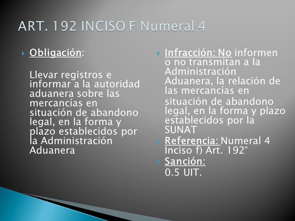 Obligación: Llevar registros e informar a la autoridad aduanera sobre las mercancías en situación de abandono legal, en la forma y plazo establecidos