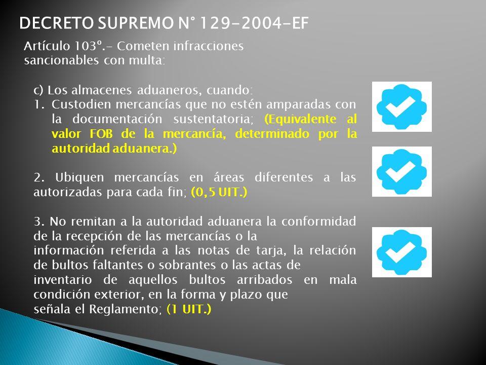 c) Los almacenes aduaneros, cuando: 1.Custodien mercancías que no estén amparadas con la documentación sustentatoria; (Equivalente al valor FOB de la