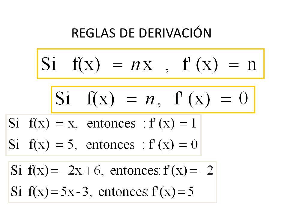 SE UTILIZAN PARA HALLAR LA DERIVADA DE UNA FUNCIÓN SIN NECESIDAD DE HALLAR EL LÍMITE CUANDO h TIENDE A 0…. Permiten encontrar f (x) de forma rápida. R