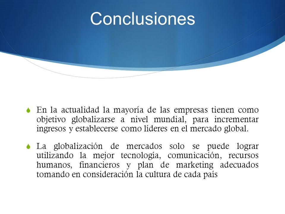 Conclusiones En la actualidad la mayoría de las empresas tienen como objetivo globalizarse a nivel mundial, para incrementar ingresos y establecerse c