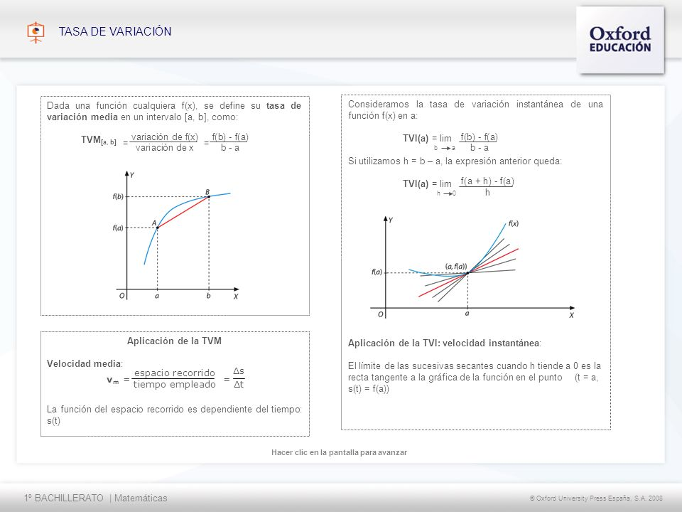 1º BACHILLERATO | Matemáticas © Oxford University Press España, S.A. 2008 Hacer clic en la pantalla para avanzar TASA DE VARIACIÓN Dada una función cu