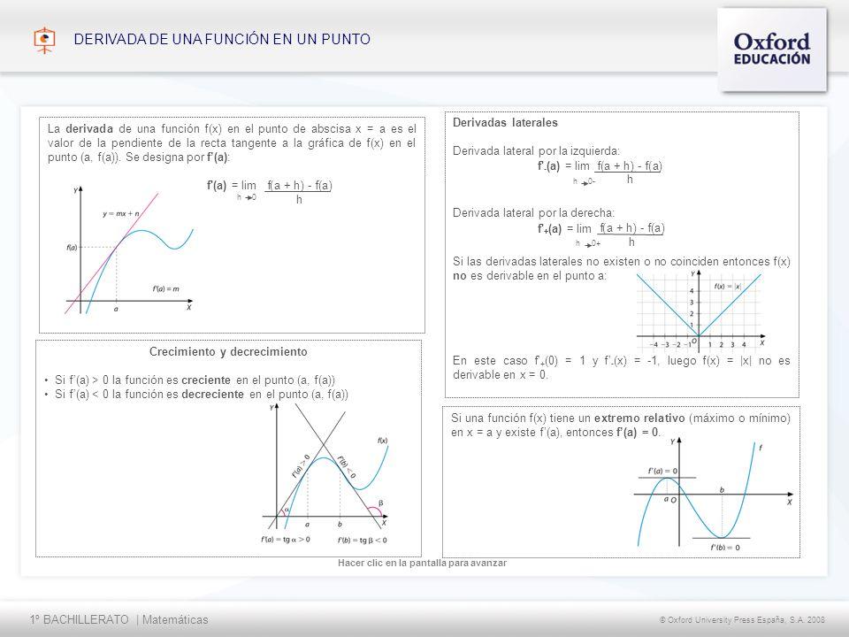 1º BACHILLERATO | Matemáticas © Oxford University Press España, S.A. 2008 Hacer clic en la pantalla para avanzar DERIVADA DE UNA FUNCIÓN EN UN PUNTO C