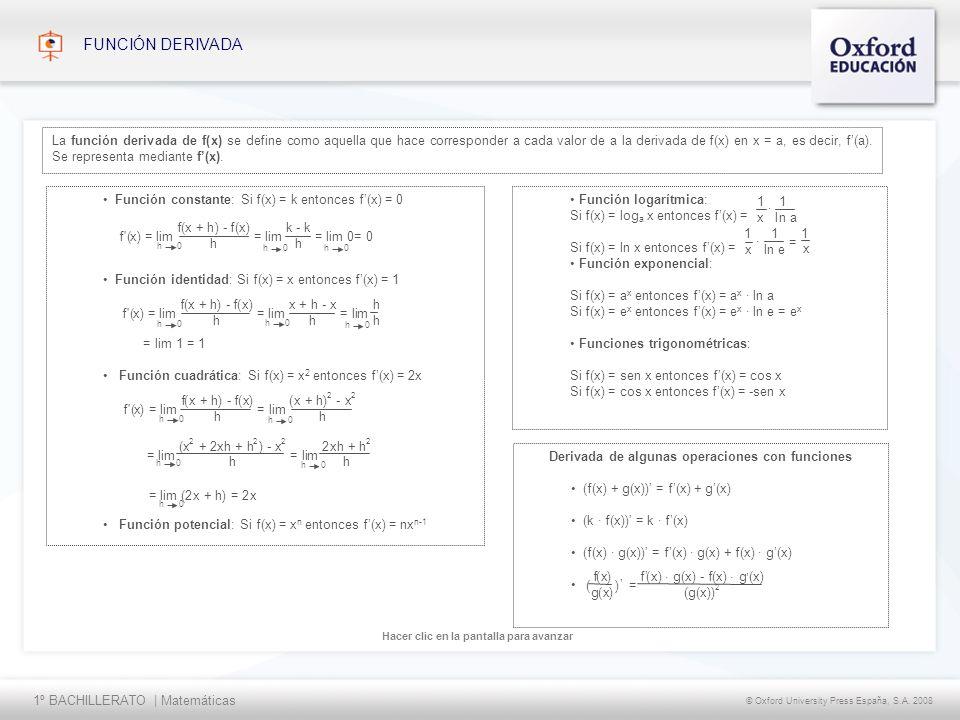 1º BACHILLERATO | Matemáticas © Oxford University Press España, S.A. 2008 Hacer clic en la pantalla para avanzar FUNCIÓN DERIVADA La función derivada