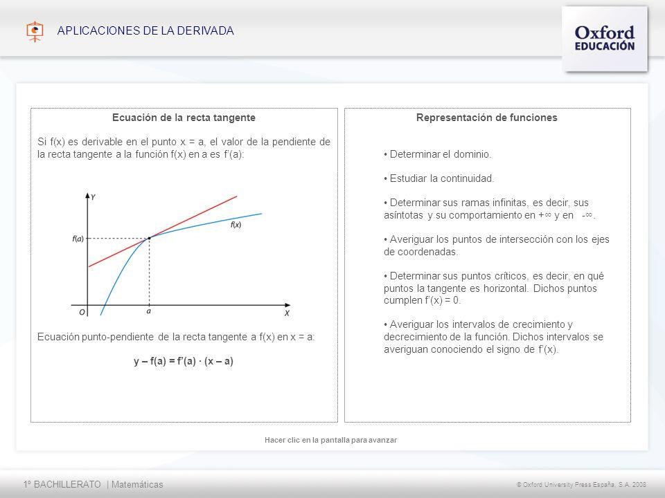 1º BACHILLERATO | Matemáticas © Oxford University Press España, S.A. 2008 Hacer clic en la pantalla para avanzar APLICACIONES DE LA DERIVADA Represent