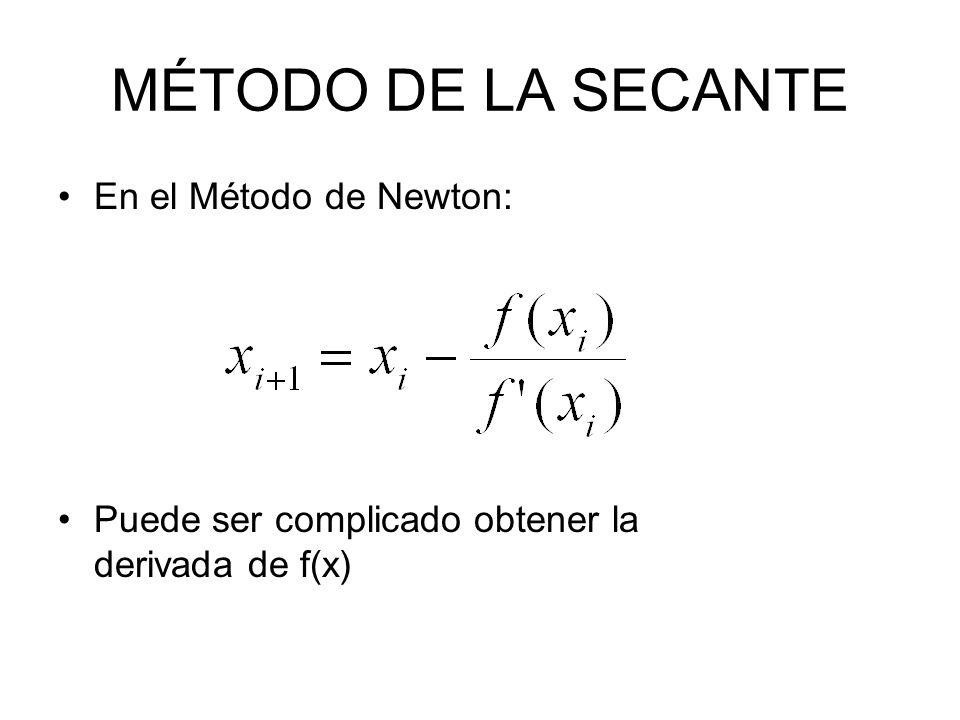 El método de la secante es una variante del de Newton consiste en aproximar a la derivada f(x) numèricamente: Por lo cual es necesario tener dos puntos de inicio: x i y x i-1, o bien, como hemos acostumbrado: x1 y x0