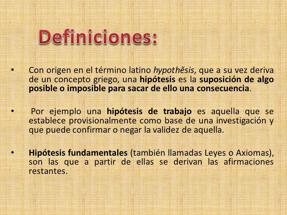Con origen en el término latino hypothĕsis, que a su vez deriva de un concepto griego, una hipótesis es la suposición de algo posible o imposible para