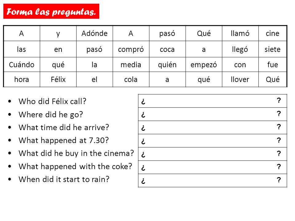 ¿Cómo son estas preguntas en español.Who did Félix call.