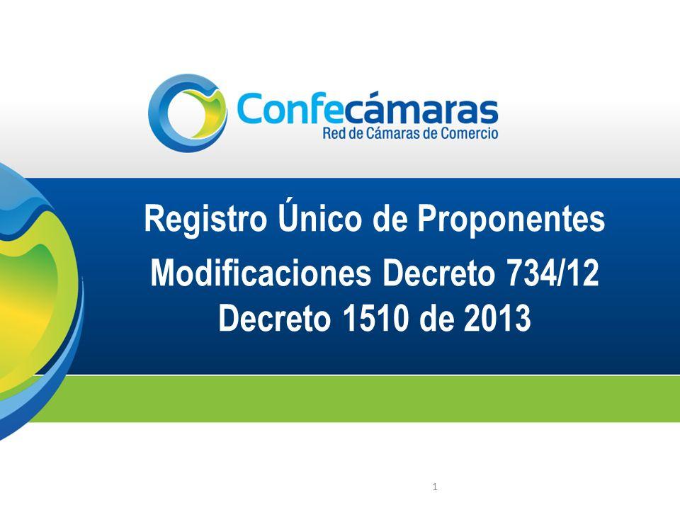 1 Registro Único de Proponentes Modificaciones Decreto 734/12 Decreto 1510 de 2013