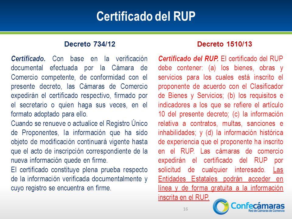 Certificado del RUP 16 Certificado.