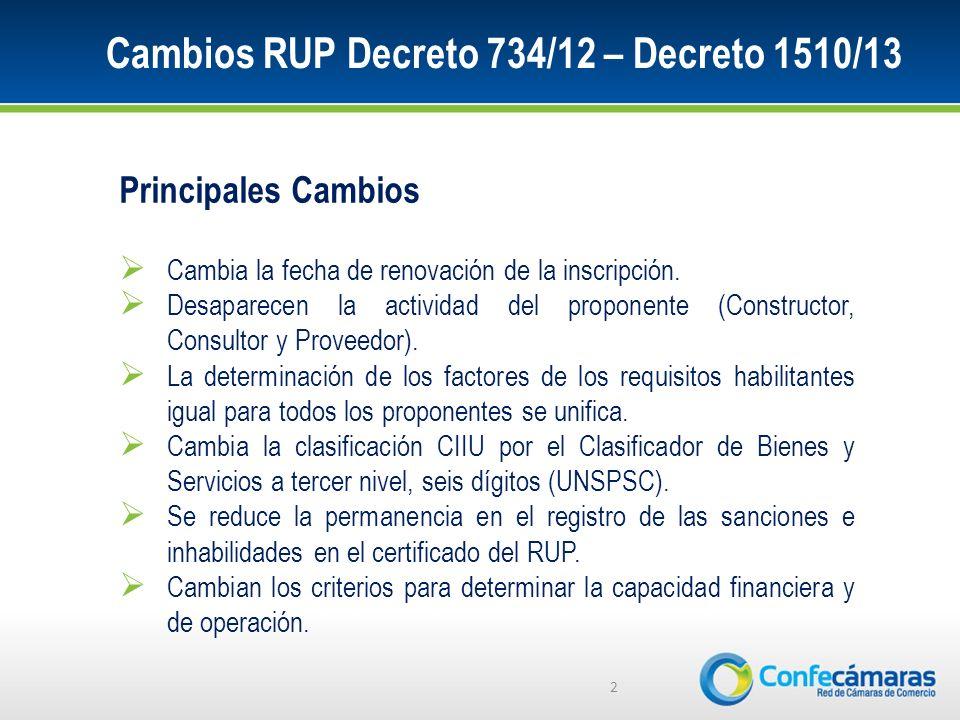 Cambios RUP Decreto 734/12 – Decreto 1510/13 2 Principales Cambios Cambia la fecha de renovación de la inscripción.
