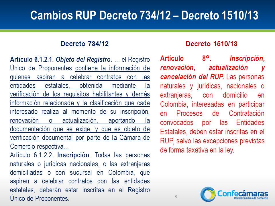 Cambios RUP Decreto 734/12 – Decreto 1510/13 3 Artículo 6.1.2.1.