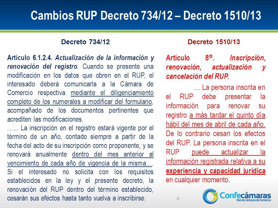 Cambios RUP Decreto 734/12 – Decreto 1510/13 4 Artículo 6.1.2.4.