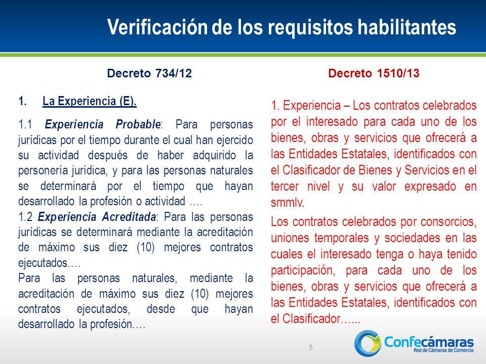 Verificación de los requisitos habilitantes 5 1.La Experiencia (E).