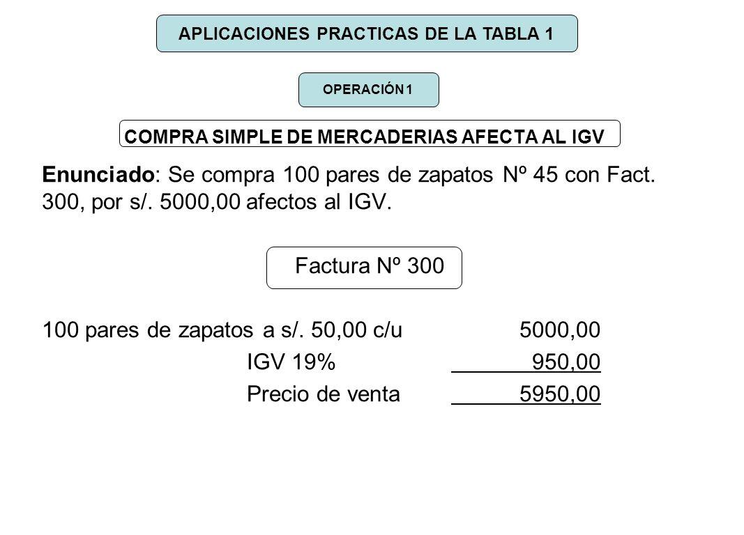 COMPRA SIMPLE DE MERCADERIAS AFECTA AL IGV Enunciado: Se compra 100 pares de zapatos Nº 45 con Fact. 300, por s/. 5000,00 afectos al IGV. Factura Nº 3