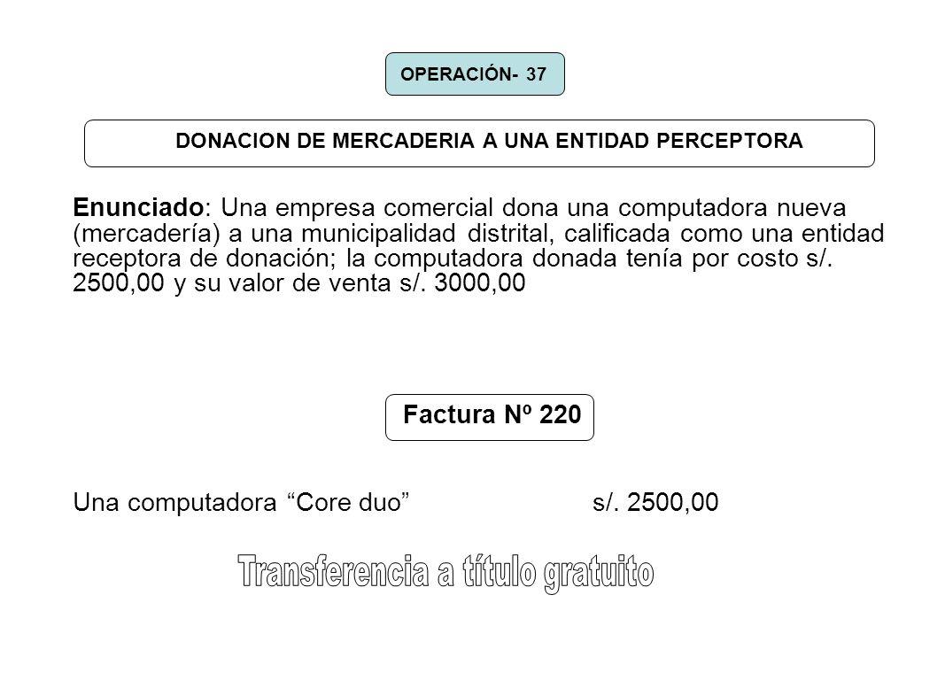 DONACION DE MERCADERIA A UNA ENTIDAD PERCEPTORA Enunciado: Una empresa comercial dona una computadora nueva (mercadería) a una municipalidad distrital