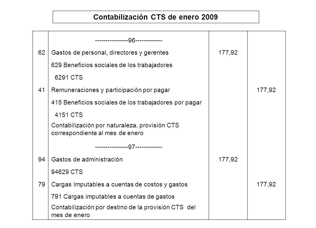Contabilización CTS de enero 2009 ----------------96------------- 62Gastos de personal, directores y gerentes177,92 629 Beneficios sociales de los tra
