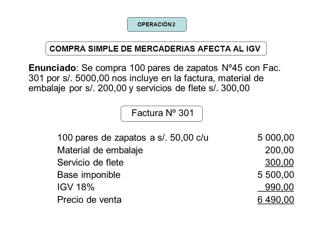 COMPRA SIMPLE DE MERCADERIAS AFECTA AL IGV Enunciado: Se compra 100 pares de zapatos Nº45 con Fac. 301 por s/. 5000,00 nos incluye en la factura, mate
