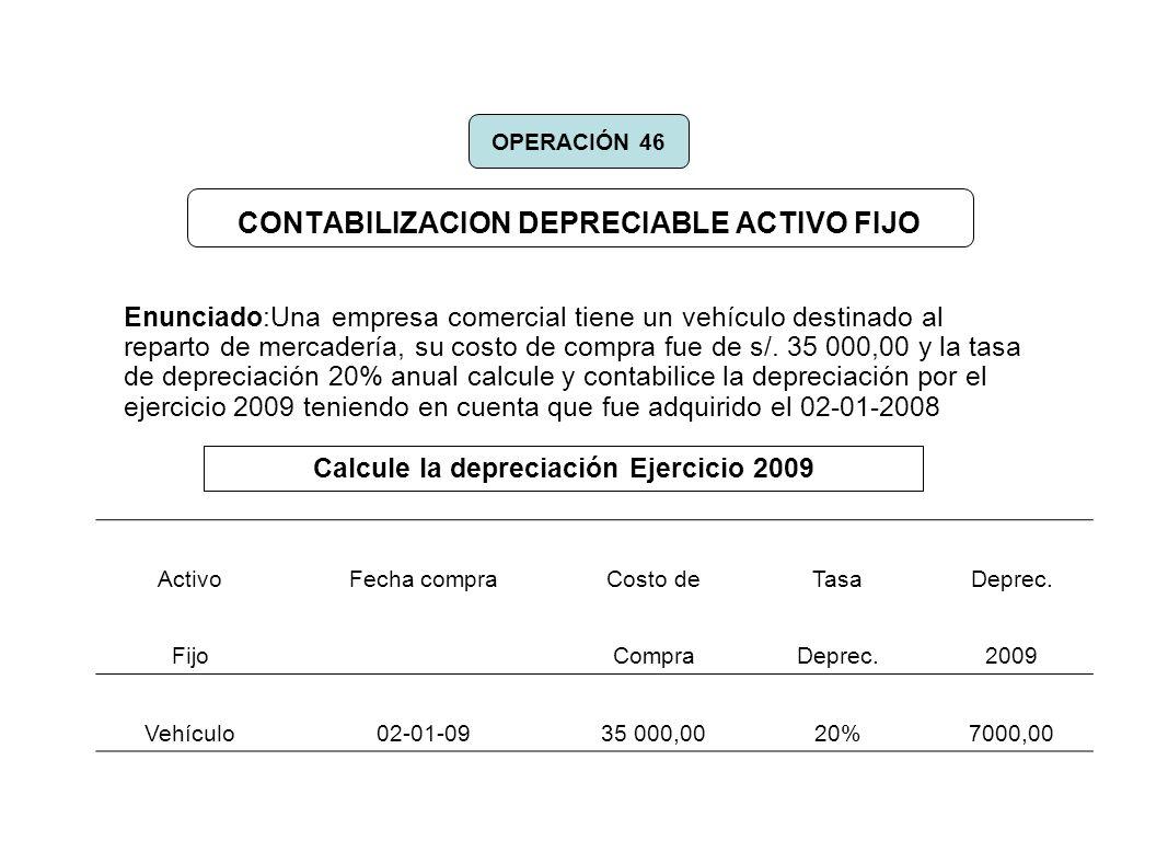 CONTABILIZACION DEPRECIABLE ACTIVO FIJO Enunciado:Una empresa comercial tiene un vehículo destinado al reparto de mercadería, su costo de compra fue d