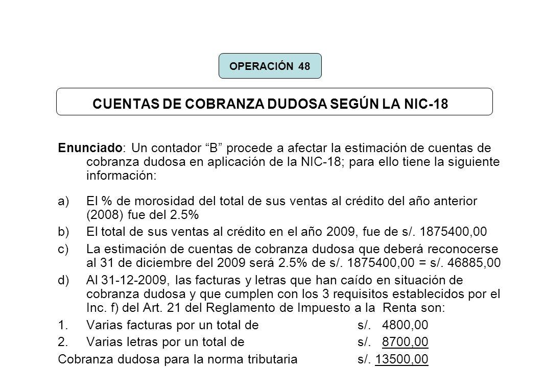 CUENTAS DE COBRANZA DUDOSA SEGÚN LA NIC-18 Enunciado: Un contador B procede a afectar la estimación de cuentas de cobranza dudosa en aplicación de la