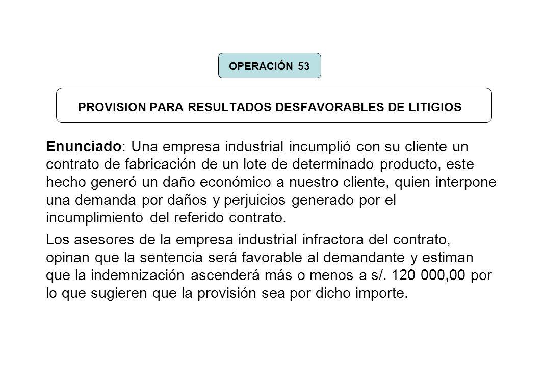 PROVISION PARA RESULTADOS DESFAVORABLES DE LITIGIOS Enunciado: Una empresa industrial incumplió con su cliente un contrato de fabricación de un lote d