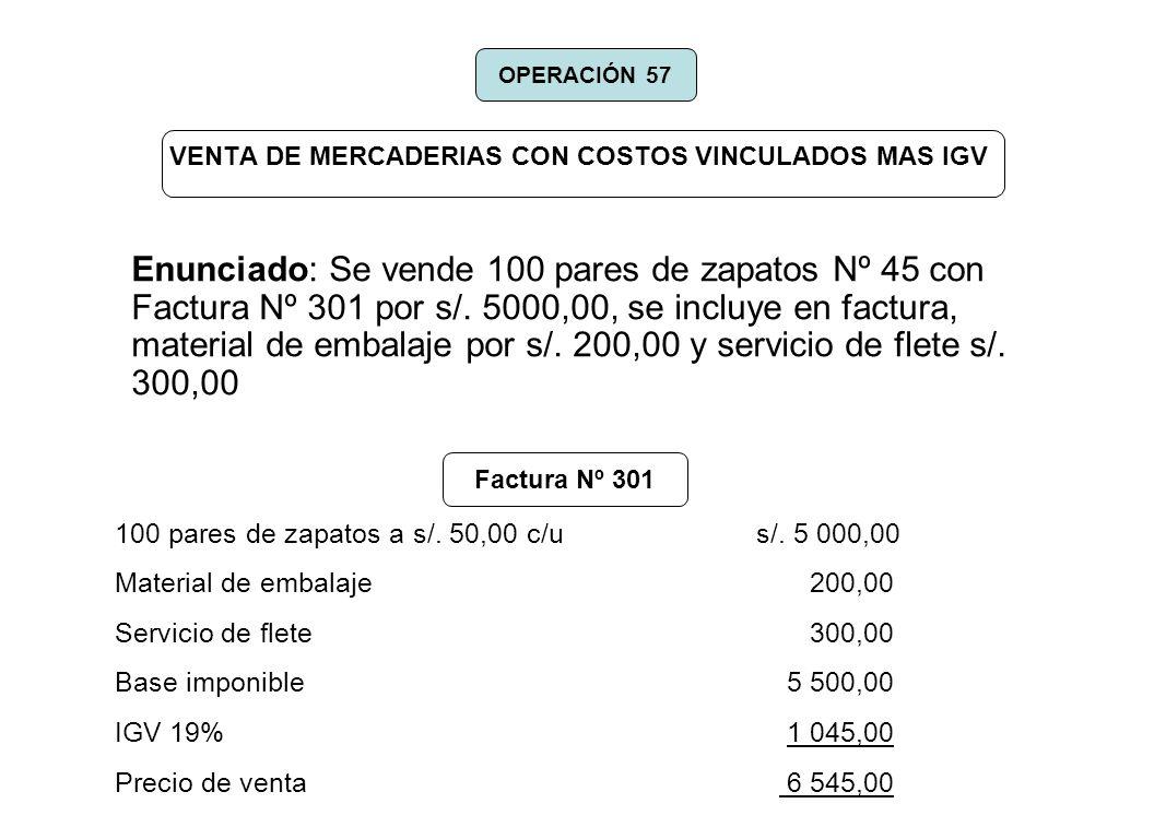VENTA DE MERCADERIAS CON COSTOS VINCULADOS MAS IGV Enunciado: Se vende 100 pares de zapatos Nº 45 con Factura Nº 301 por s/. 5000,00, se incluye en fa