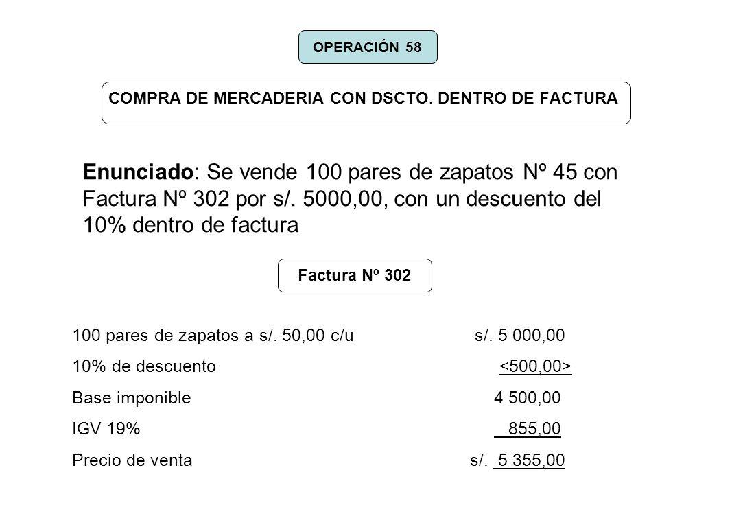 COMPRA DE MERCADERIA CON DSCTO. DENTRO DE FACTURA Enunciado: Se vende 100 pares de zapatos Nº 45 con Factura Nº 302 por s/. 5000,00, con un descuento