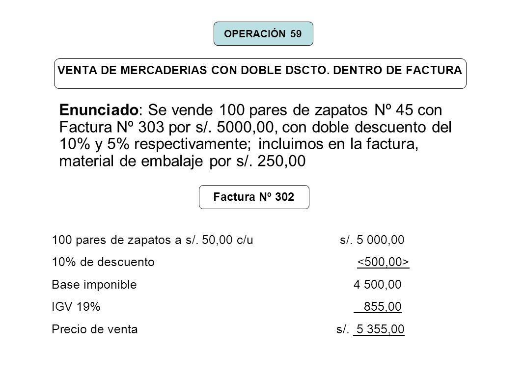 VENTA DE MERCADERIAS CON DOBLE DSCTO. DENTRO DE FACTURA Enunciado: Se vende 100 pares de zapatos Nº 45 con Factura Nº 303 por s/. 5000,00, con doble d
