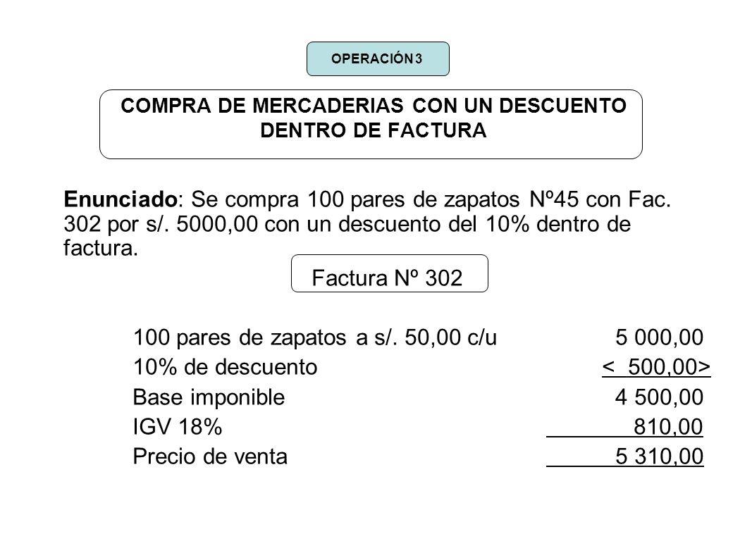 COMPRA DE MERCADERIAS CON UN DESCUENTO DENTRO DE FACTURA Enunciado: Se compra 100 pares de zapatos Nº45 con Fac. 302 por s/. 5000,00 con un descuento