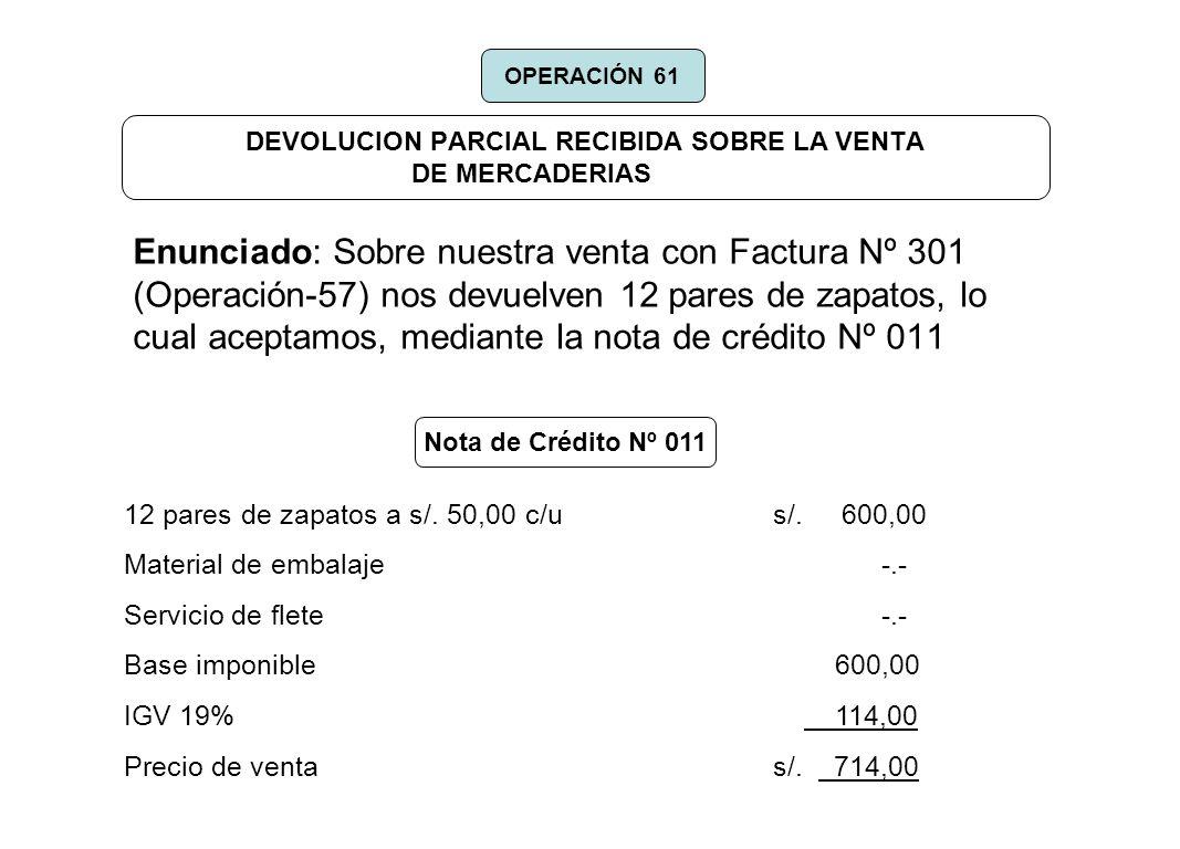 DEVOLUCION PARCIAL RECIBIDA SOBRE LA VENTA DE MERCADERIAS Enunciado: Sobre nuestra venta con Factura Nº 301 (Operación-57) nos devuelven 12 pares de z