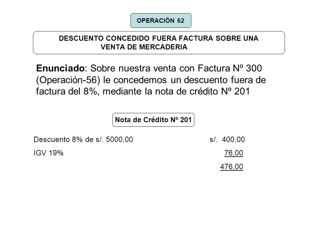DESCUENTO CONCEDIDO FUERA FACTURA SOBRE UNA VENTA DE MERCADERIA Enunciado: Sobre nuestra venta con Factura Nº 300 (Operación-56) le concedemos un desc