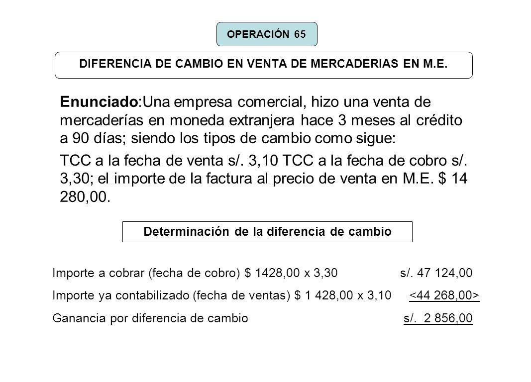 DIFERENCIA DE CAMBIO EN VENTA DE MERCADERIAS EN M.E. Enunciado:Una empresa comercial, hizo una venta de mercaderías en moneda extranjera hace 3 meses