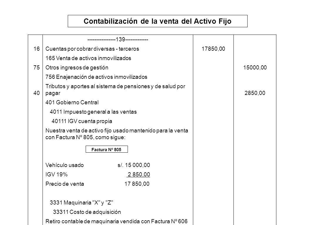 Contabilización de la venta del Activo Fijo Factura Nº 805 ----------------139------------- 16Cuentas por cobrar diversas - terceros17850,00 165 Venta