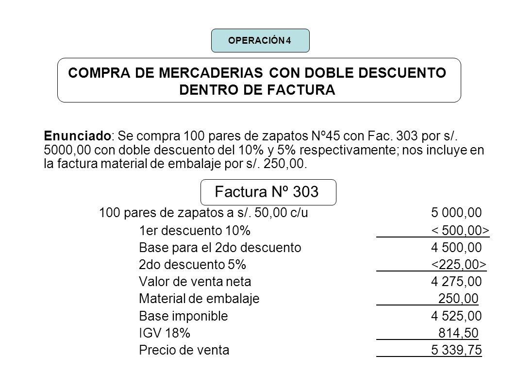 COMPRA DE MERCADERIAS CON DOBLE DESCUENTO DENTRO DE FACTURA Enunciado: Se compra 100 pares de zapatos Nº45 con Fac. 303 por s/. 5000,00 con doble desc