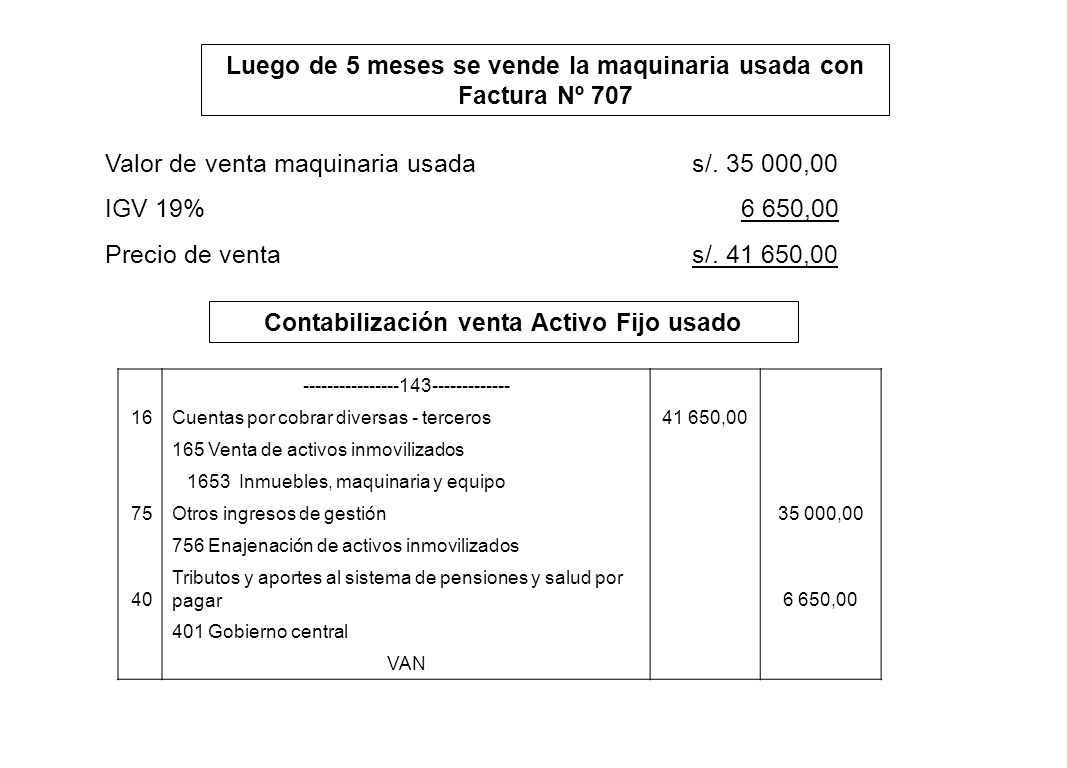 Luego de 5 meses se vende la maquinaria usada con Factura Nº 707 Valor de venta maquinaria usadas/. 35 000,00 IGV 19% 6 650,00 Precio de ventas/. 41 6