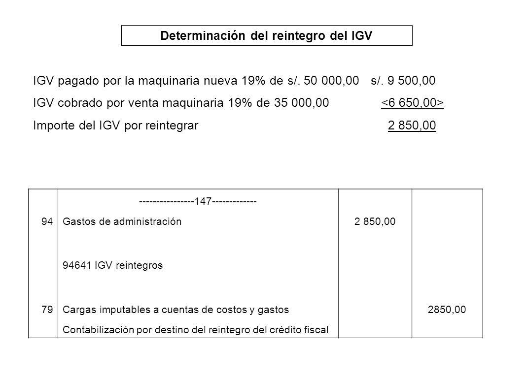 Determinación del reintegro del IGV IGV pagado por la maquinaria nueva 19% de s/. 50 000,00s/. 9 500,00 IGV cobrado por venta maquinaria 19% de 35 000