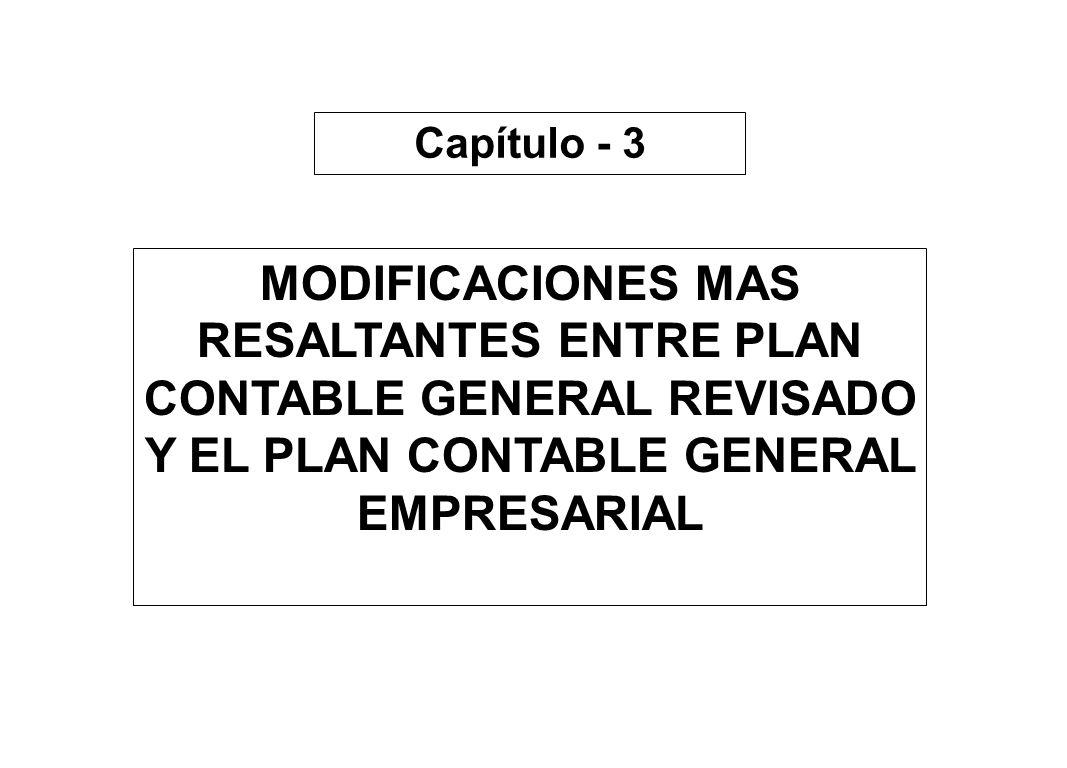 Capítulo - 3 MODIFICACIONES MAS RESALTANTES ENTRE PLAN CONTABLE GENERAL REVISADO Y EL PLAN CONTABLE GENERAL EMPRESARIAL
