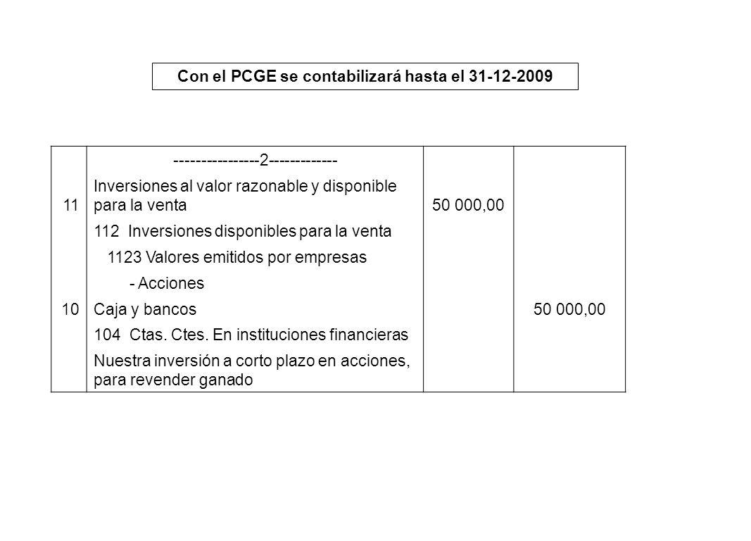 Con el PCGE se contabilizará hasta el 31-12-2009 ----------------2------------- 11 Inversiones al valor razonable y disponible para la venta50 000,00