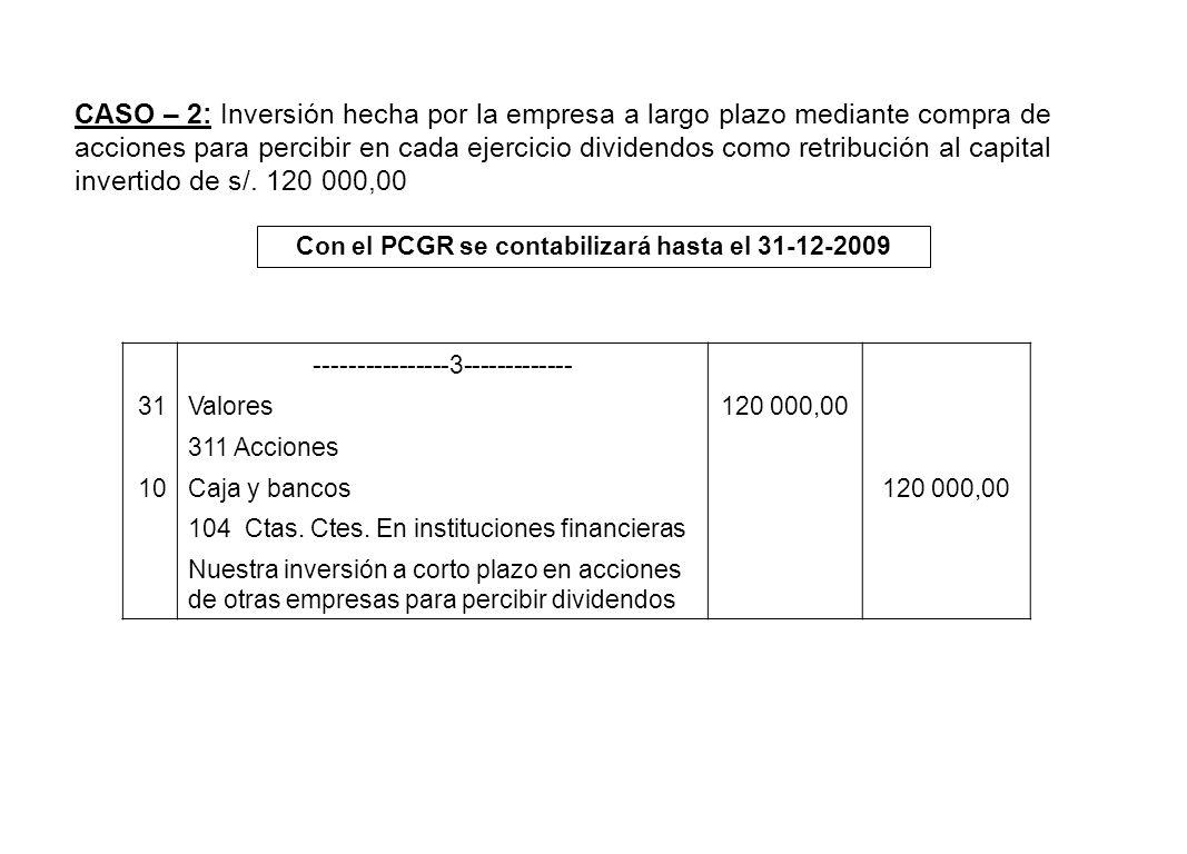 CASO – 2: Inversión hecha por la empresa a largo plazo mediante compra de acciones para percibir en cada ejercicio dividendos como retribución al capi