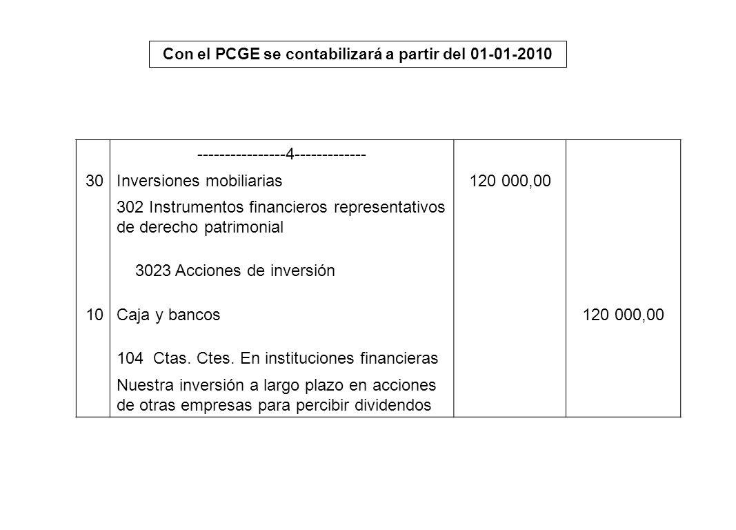 Con el PCGE se contabilizará a partir del 01-01-2010 ----------------4------------- 30Inversiones mobiliarias120 000,00 302 Instrumentos financieros r