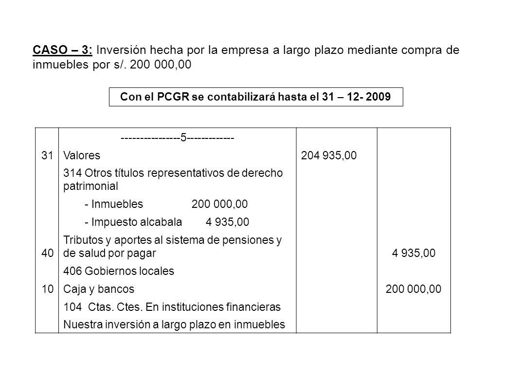 CASO – 3: Inversión hecha por la empresa a largo plazo mediante compra de inmuebles por s/. 200 000,00 Con el PCGR se contabilizará hasta el 31 – 12-
