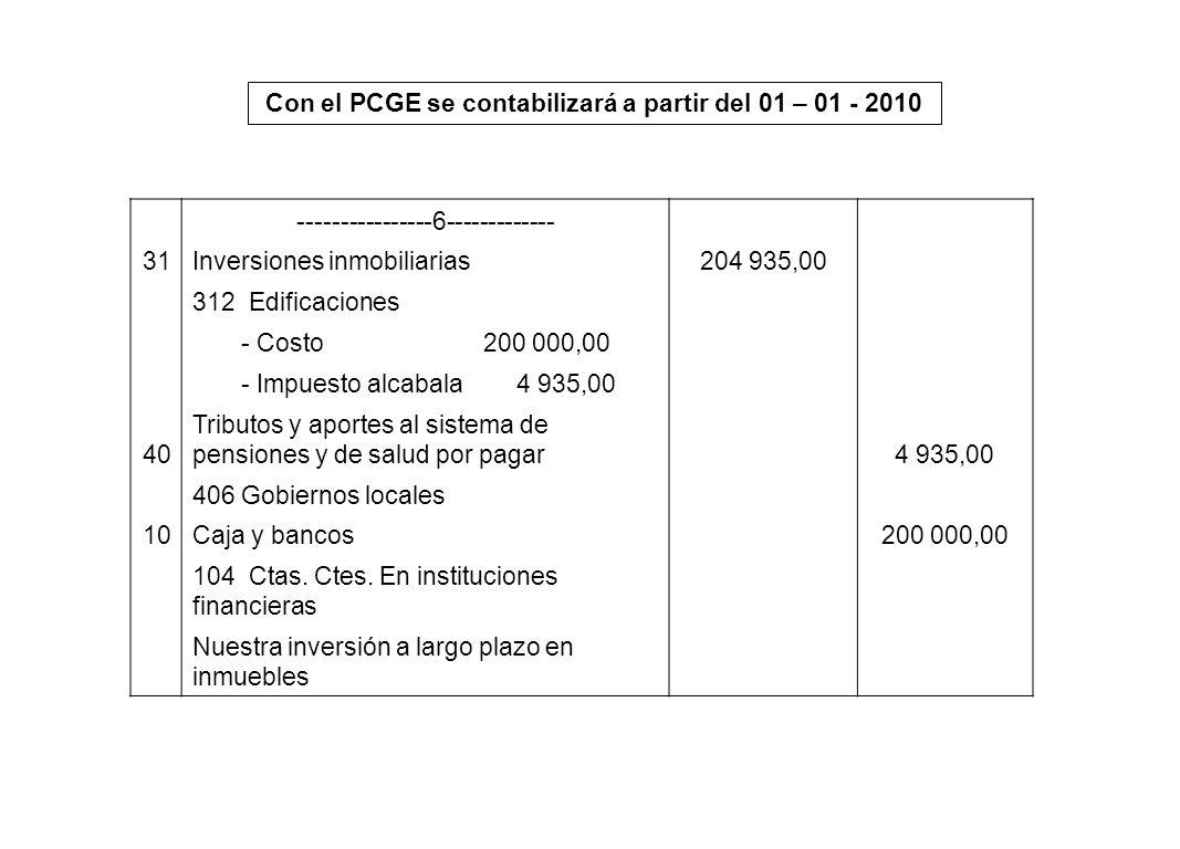 Con el PCGE se contabilizará a partir del 01 – 01 - 2010 ----------------6------------- 31Inversiones inmobiliarias204 935,00 312 Edificaciones - Cost
