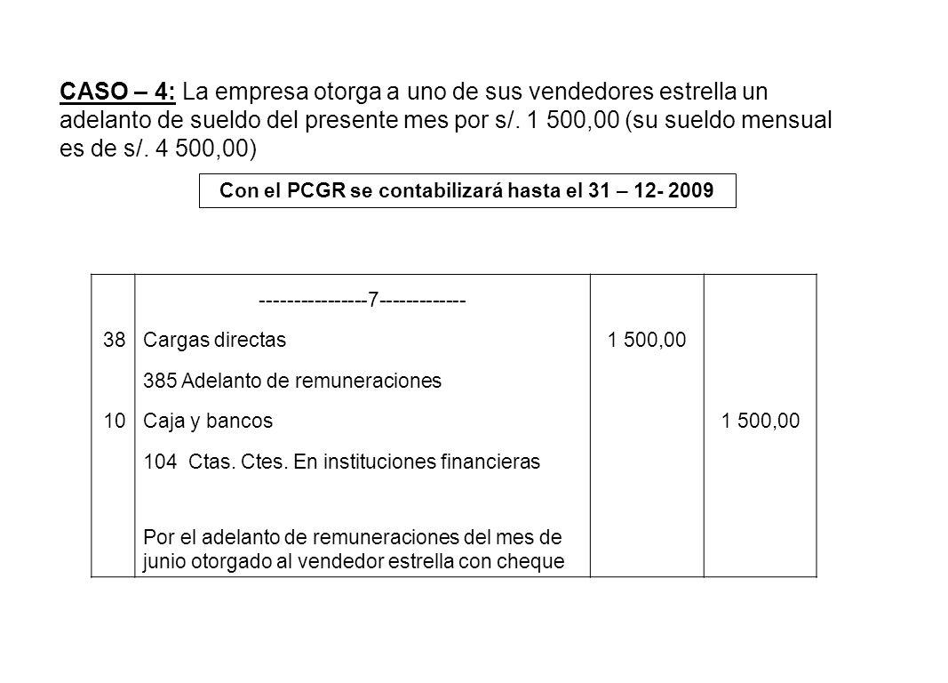 CASO – 4: La empresa otorga a uno de sus vendedores estrella un adelanto de sueldo del presente mes por s/. 1 500,00 (su sueldo mensual es de s/. 4 50