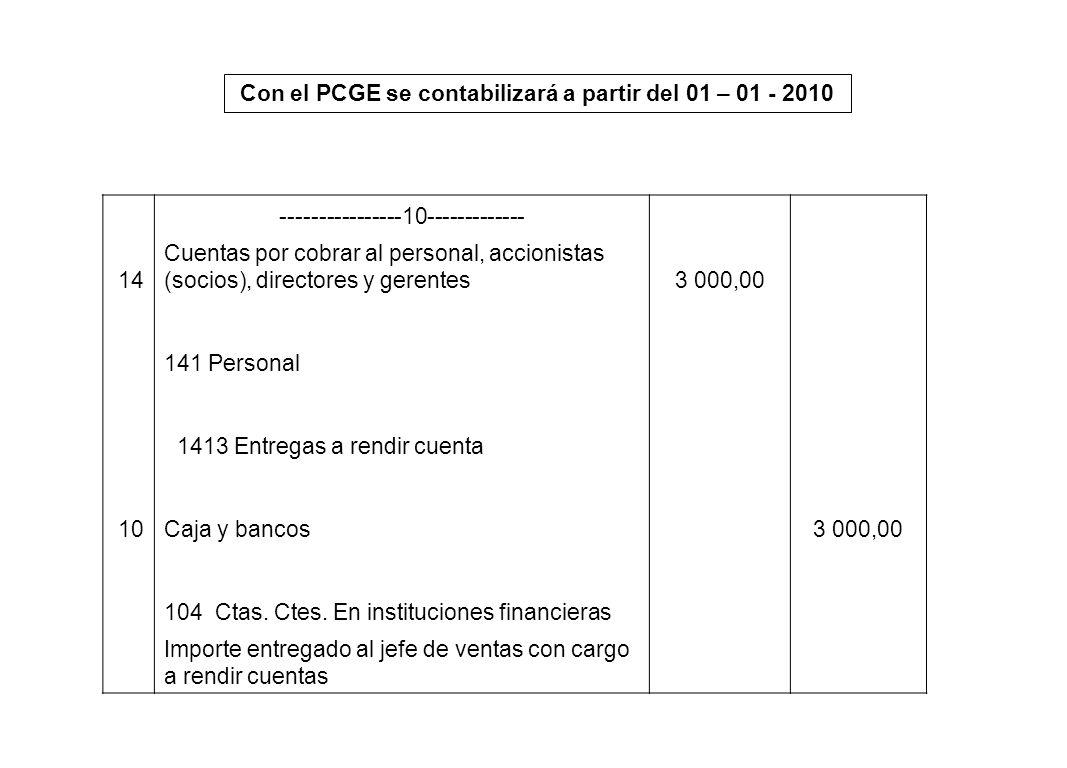 Con el PCGE se contabilizará a partir del 01 – 01 - 2010 ----------------10------------- 14 Cuentas por cobrar al personal, accionistas (socios), dire
